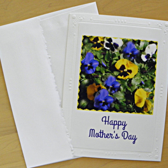 Pansies for Mother: Blank Inside card; by PonsART $6.25 - PAMELA'S ART by PonsART - a Gift Shop and Marketplace