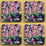 Pink Floral Coasters: 4-piece set; by PonsART; $20.00 - PAMELA'S ART by PonsART - a Gift Shop and Marketplace