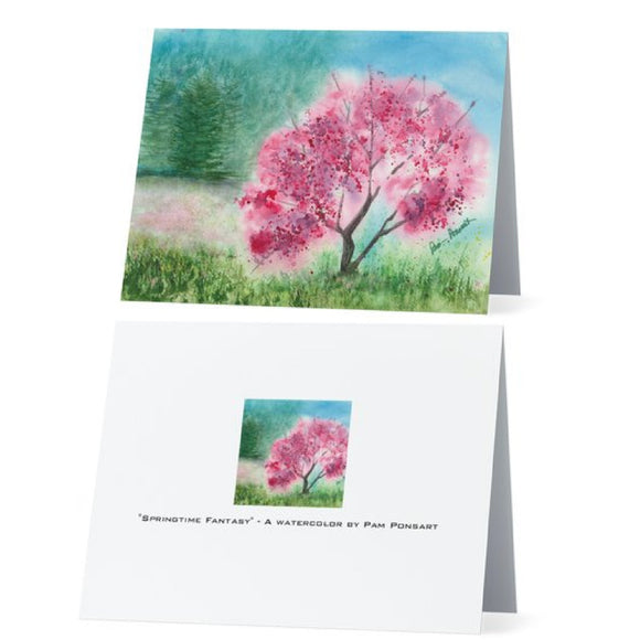 Pink Note Cards: 4-pc. set; Printed; by PonsART $17.95 - PAMELA'S ART by PonsART - a Gift Shop and Marketplace