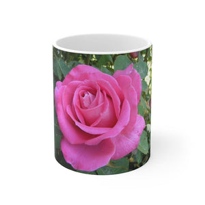 Pink Rose Photo Mug: White ceramic; 11 oz by PonsART $23.25 - PAMELA'S ART by PonsART - a Gift Shop and Marketplace