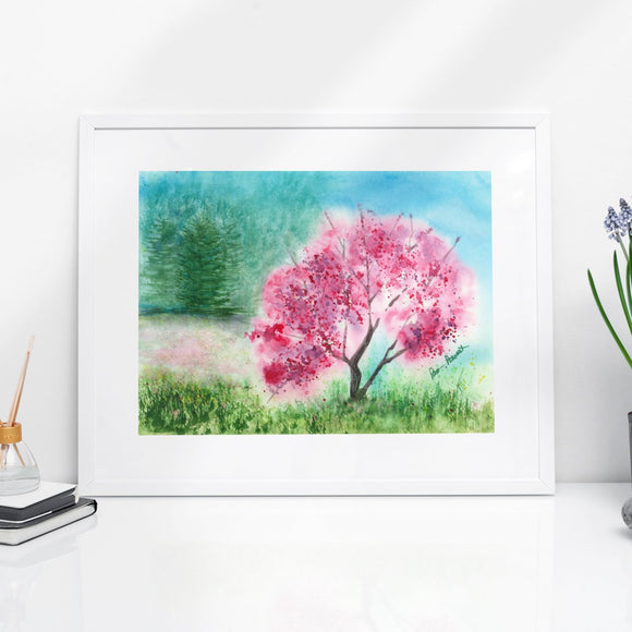 Pink Watercolor Print: Wall Art; by PonsART $55.00+ - PAMELA'S ART by PonsART - a Gift Shop and Marketplace