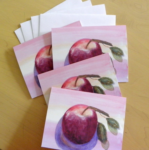 Red-Apple Note Cards: 4-piece Set; by PonsArt $17.95 - PAMELA'S ART by PonsART - a Gift Shop and Marketplace