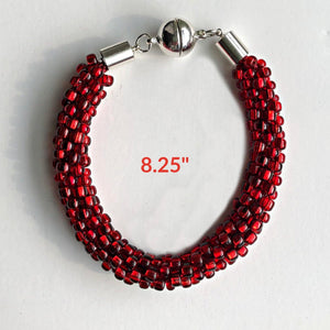 Red Beaded Bracelet: Kumihimo; Festive; Handcrafted $45.00 - PAMELA'S ART by PonsART - a Gift Shop and Marketplace