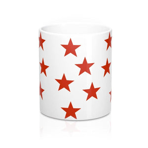 Red Stars Mug: White Ceramic; Patriotic; by PonsART $23.25 - PAMELA'S ART by PonsART - a Gift Shop and Marketplace