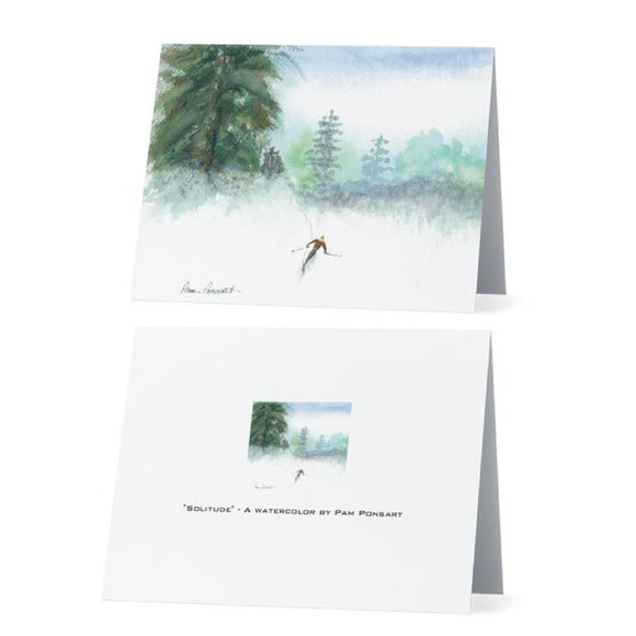 Skier Printed Note Cards: 4-pc. set; by PonsART $17.95 - PAMELA'S ART by PonsART - a Gift Shop and Marketplace