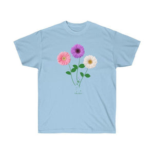 Unisex Daisy-Trio T-shirt: 2 colors by PonsART $21.95+ - PAMELA'S ART by PonsART - a Gift Shop and Marketplace