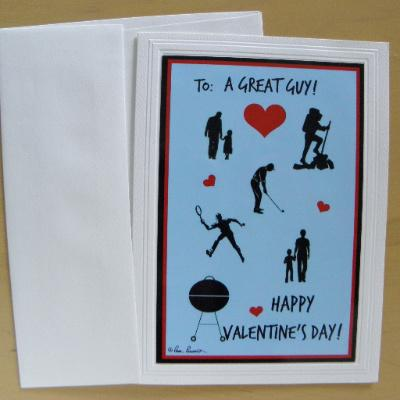 Valentine for Guy: Blank; Handcrafted; by PonsART $6.25 - PAMELA'S ART by PonsART - a Gift Shop and Marketplace