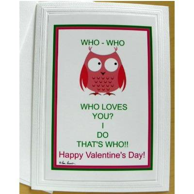 Valentine with Owl: Blank inside; by PonsART $6.25 - PAMELA'S ART by PonsART - a Gift Shop and Marketplace