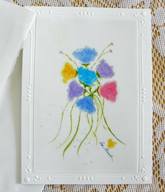Watercolor Flowers Card: Blank inside; by PonsART $6.25 - PAMELA'S ART by PonsART - a Gift Shop and Marketplace