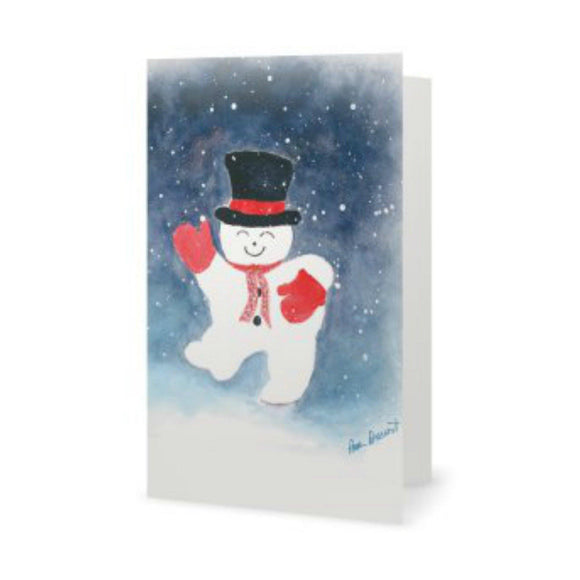 Watercolor Print Card: Snowman design by PonsART $6.25 - PAMELA'S ART by PonsART - a Gift Shop and Marketplace