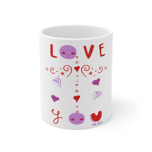Whimsical Valentine Mug: White ceramic; 11 oz by PonsART $23.25 - PAMELA'S ART by PonsART - a Gift Shop and Marketplace