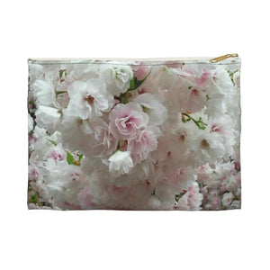 White Accessory Pouch: Floral; 2 sizes; by PonsART $17.95+ - PAMELA'S ART by PonsART - a Gift Shop and Marketplace
