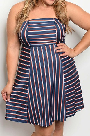 STRAPLESS STRIPE FLARED DRESS