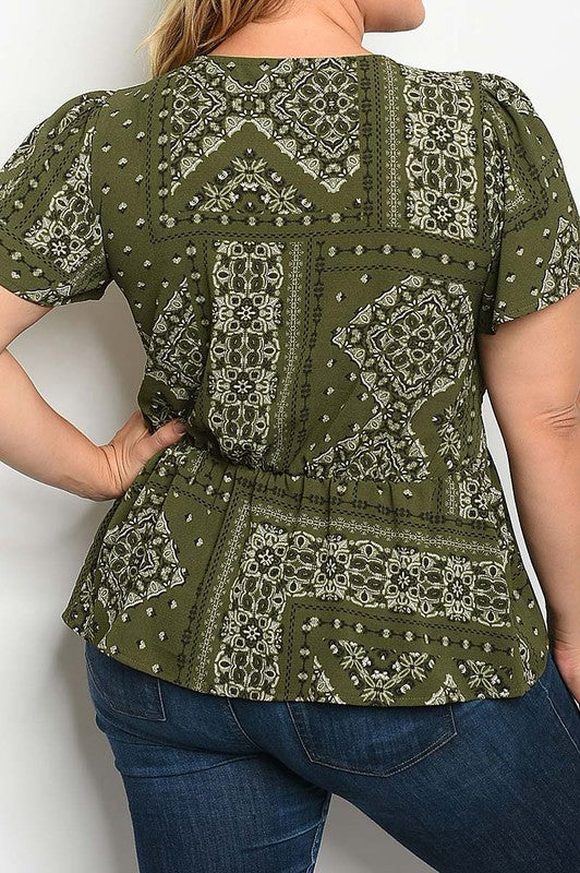 V NECK SMOKED WAIST PRINT CURVY TOP