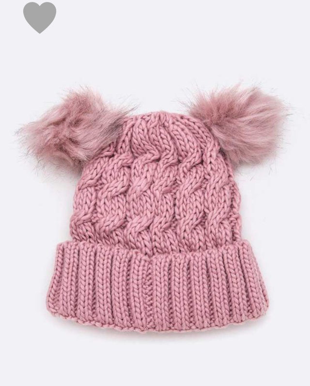 Double PomPom Cable Raised Knit Beanie Hat