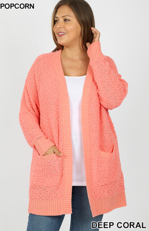 CURVY LONG SLEEVE POPCORN Cardigan