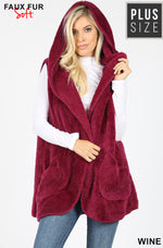 Curvy Hooded Faux Fur Cocoon Vest