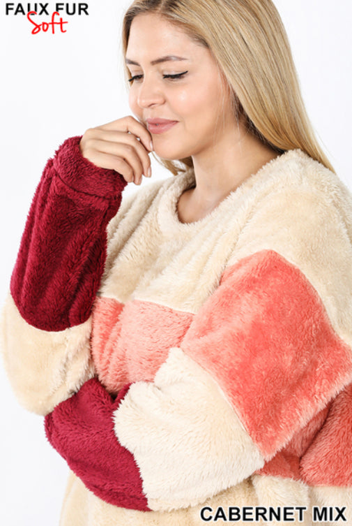 Curvy Faux Fur Multi Color Block Pullover