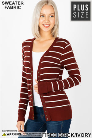 Curvy Striped Studded Cardigan
