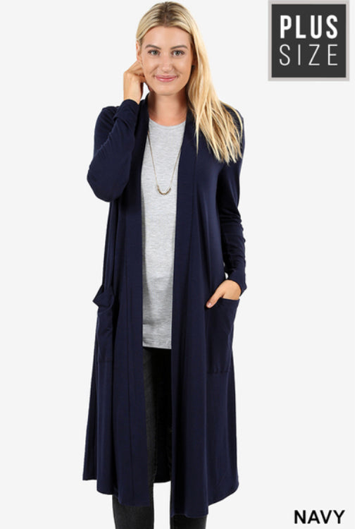 Curvy Slouchy Pocket Open Cardigan