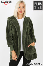 CURVY LONG SLEEVE HOODED FAUX FUR COCOON JACKET