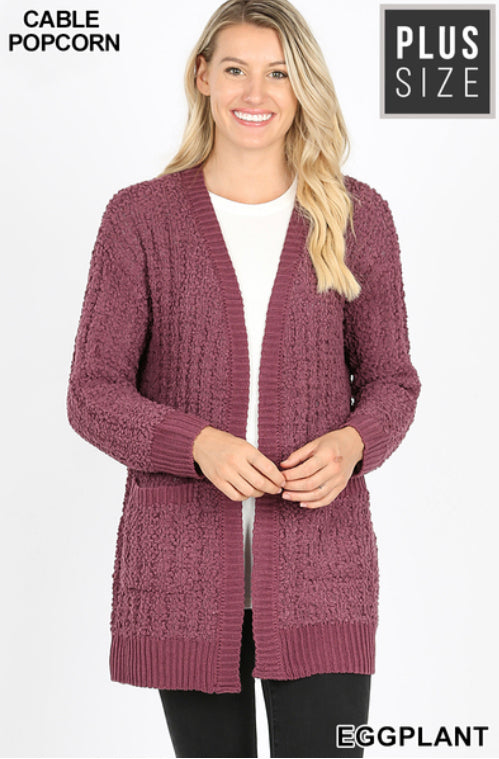 Curvy Cable Popcorn Sweater Cardigan