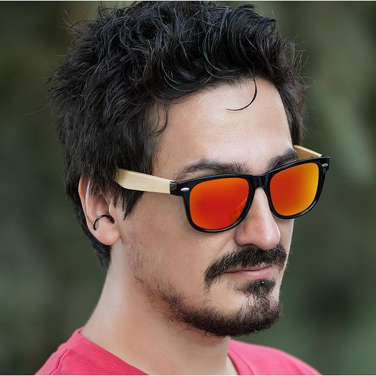 "Ξύλινα Γυαλιά Ηλίου Polarized Wayfarer ""Tropical""-ORANGE-e-chap"