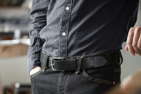 Black coloured leather Dartington Belt by Tanner Bates