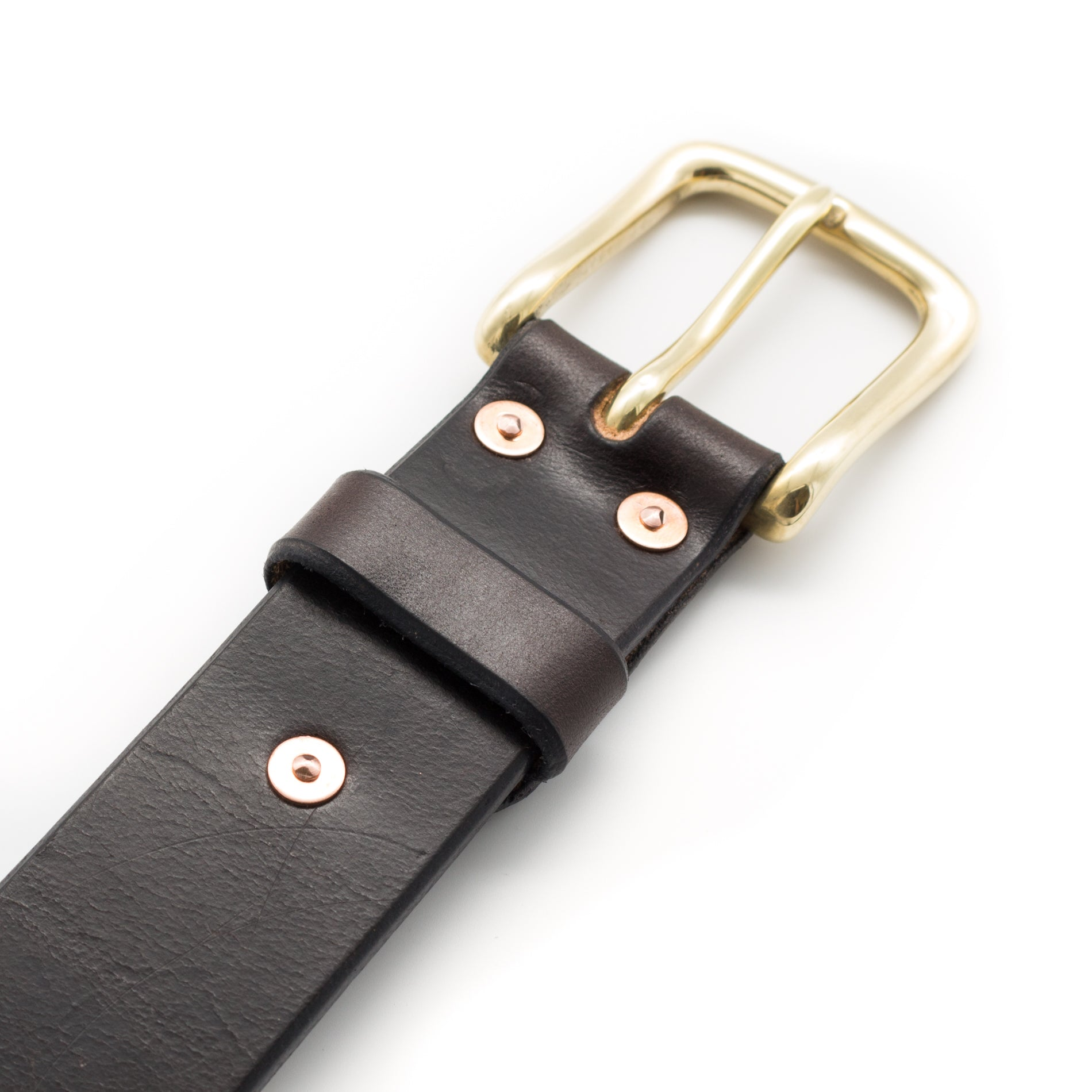 Belt with brass buckle