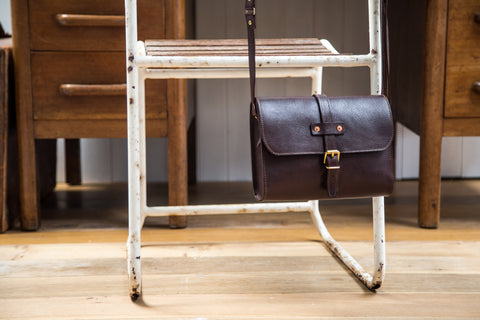 Tumbled Mahogany Midi Baja Leather Bag