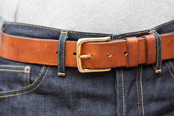 Brown Oak Bark Tanned Leather Belt by Tanner Bates