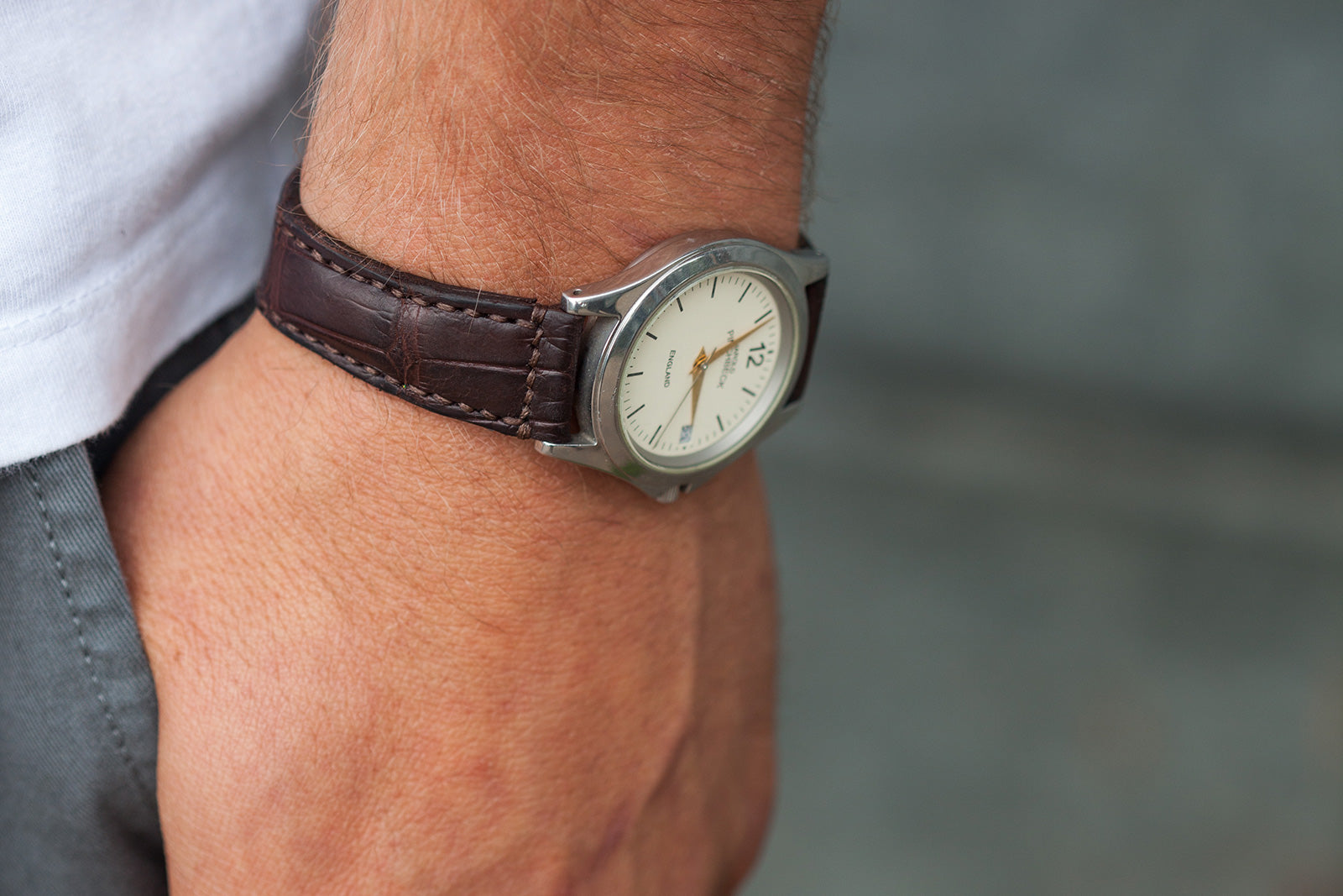 Crocodile watch strap by Tanner Bates