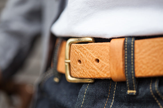 Sand coloured leather Darlington belt by Tanner Bates