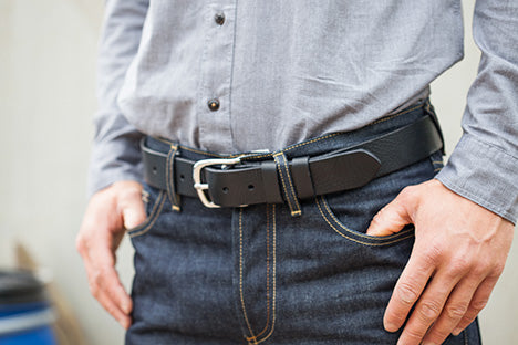 Black Oak Bark Leather Belt by Tanner Bates