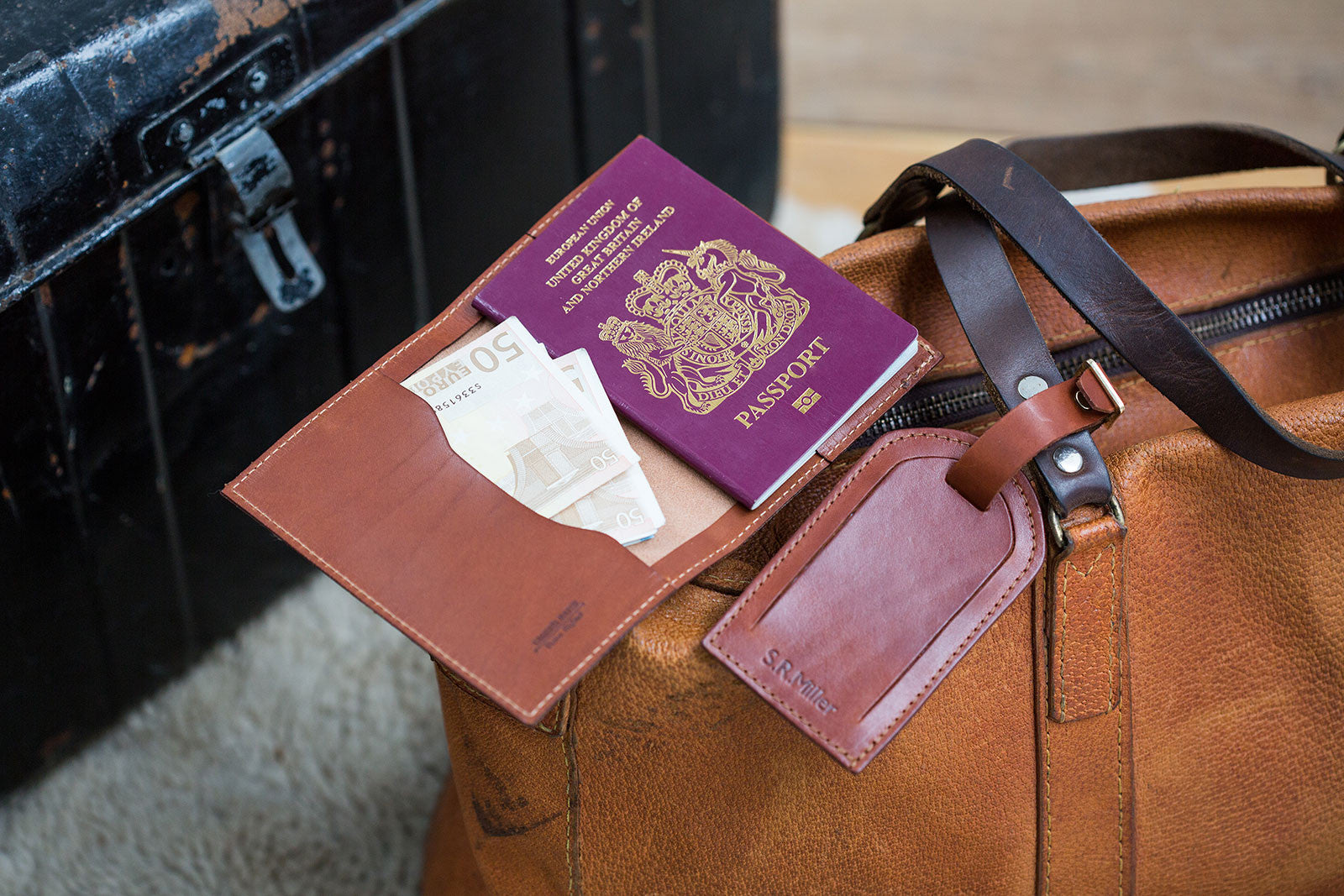 Leather passport cover and luggage label from Tanner Bates