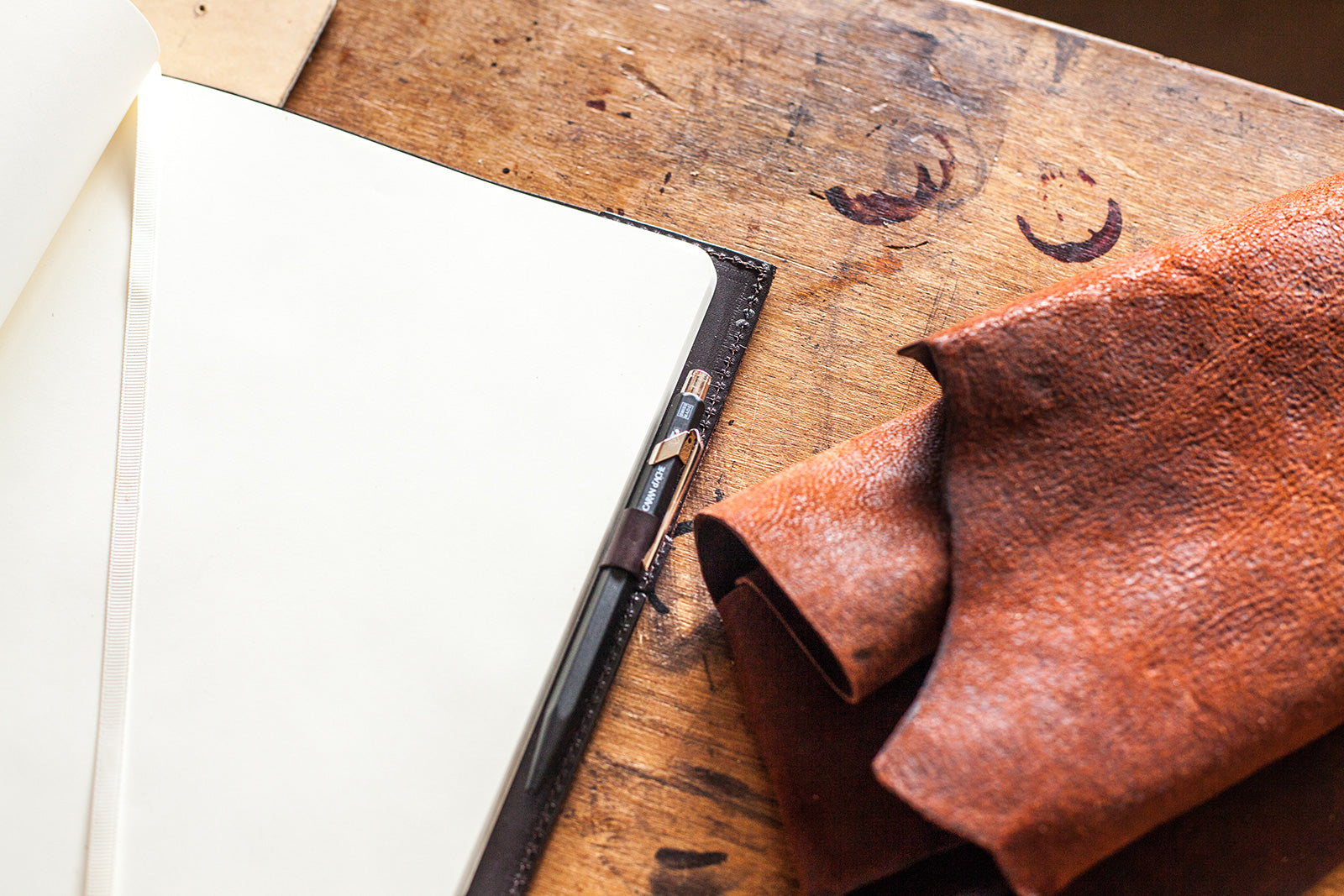 Hand-made Leather Bound XL Moleskine Cahier in Full Grain Italian Leather by Tanner Bates