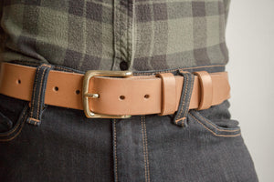Oak bark belt been worn with denim jeans and shirt