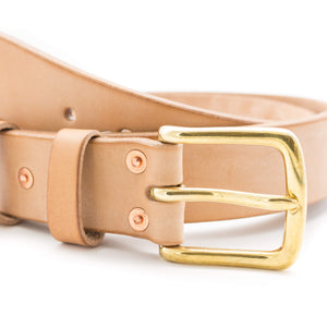 Oak bark tanned leather belt with brass buckle