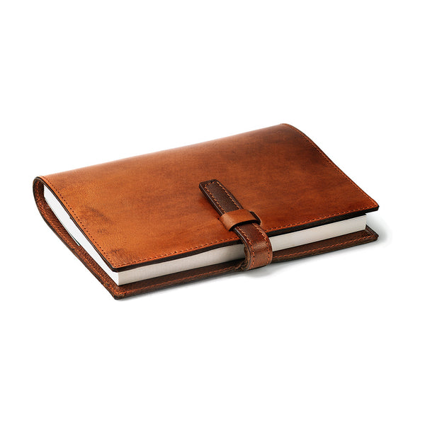 Oak bark tanned leather notebook