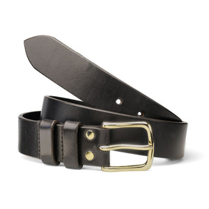 Black Oak Bark Leather Belt with Brass Buckle by Tanner Bates