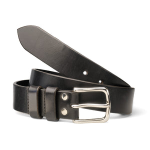 Black Oak Bark Leather Belt with Nickel Buckle by Tanner Bates