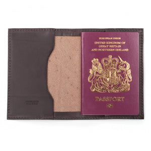 Hand-made leather passport cover by Tanner Bates