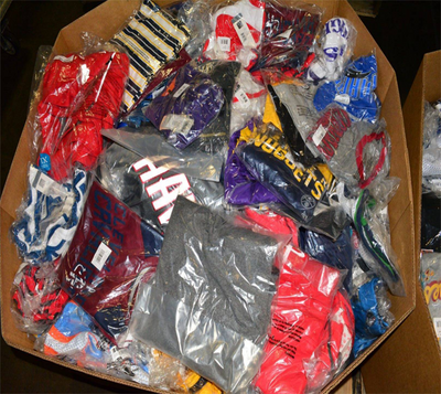Wholesale Assorted Bins of New Shelf-Pull Licensed Sports Clothing