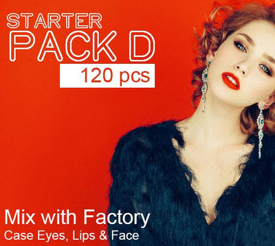 (Starter Pack D 120 Pcs ) Wholesale Liquidation Mix with Factory Case Eyes, Lips & Face