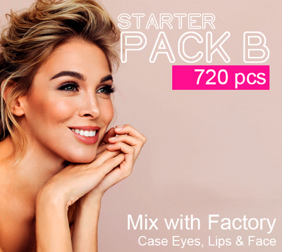 (Starter Pack B 720 Pcs) Wholesale Liquidation Mix with Factory Case Eyes, Lips & Face