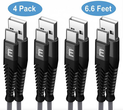 Wholesale 4-Pack Beam Electronics 6.6ft Nylon Braided USB Type C Cables