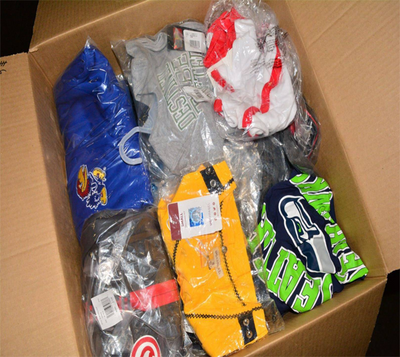 Wholesale Assorted Case Packs of New Shelf Pull Licensed Sports Clothing