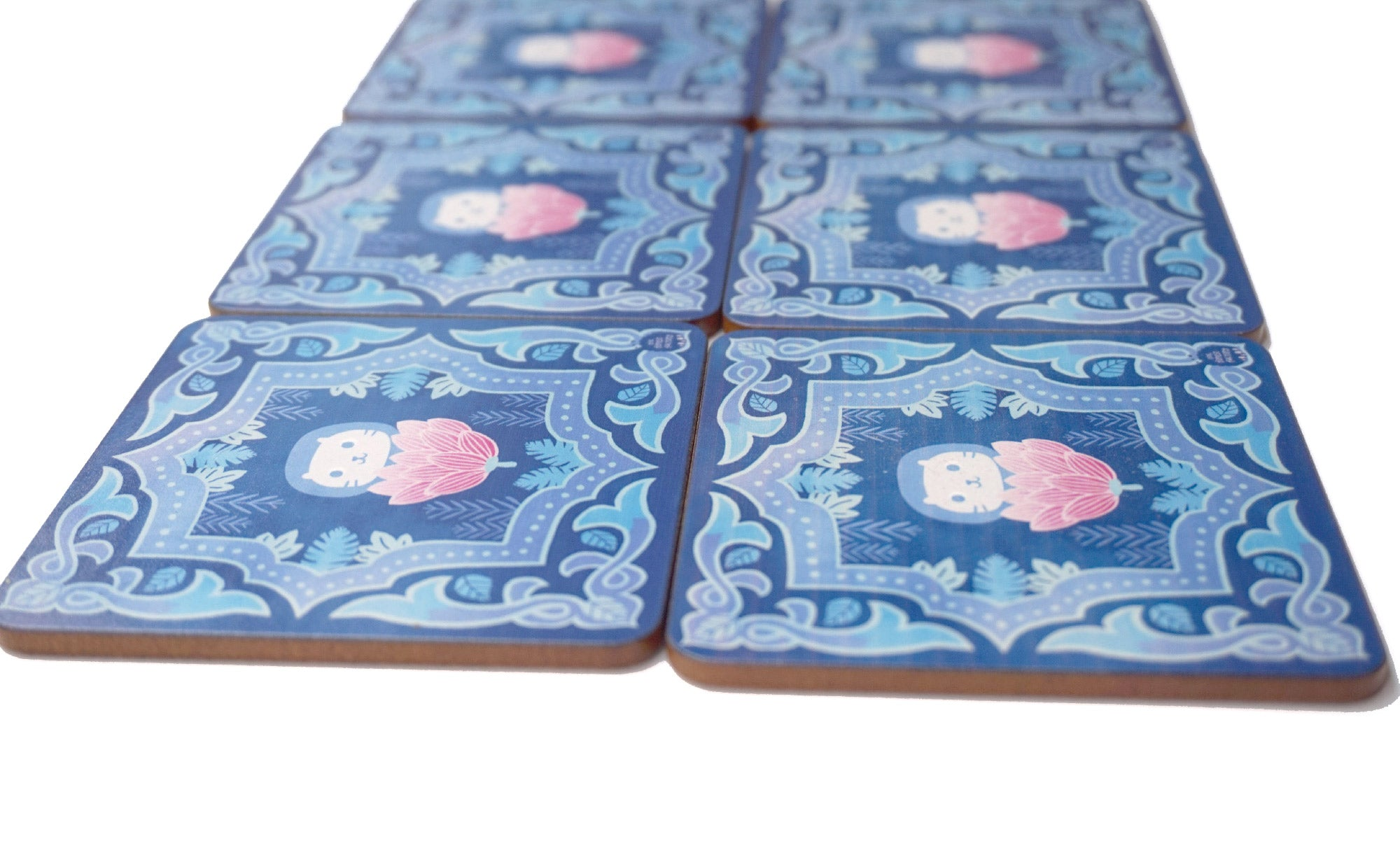 Singapore Peranakan Coaster Blue Forest