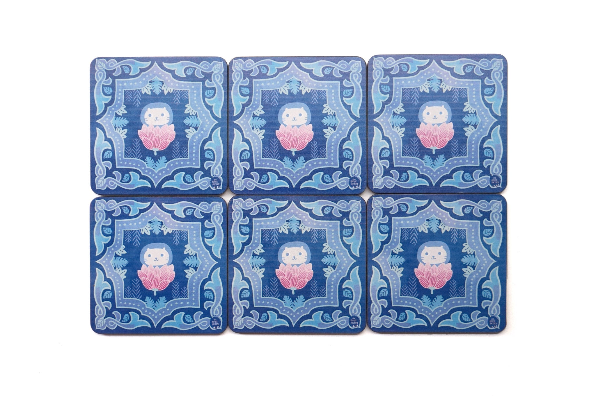 [Set of 6] Singapore Peranakan Coasters Blue Garden