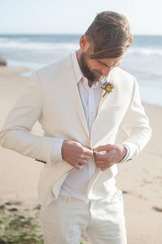 2-Piece Wedding Suit Ivory White Linen Men's Suit Plus Size-Suit-Kenya-LeStyleParfait.Co.Ke